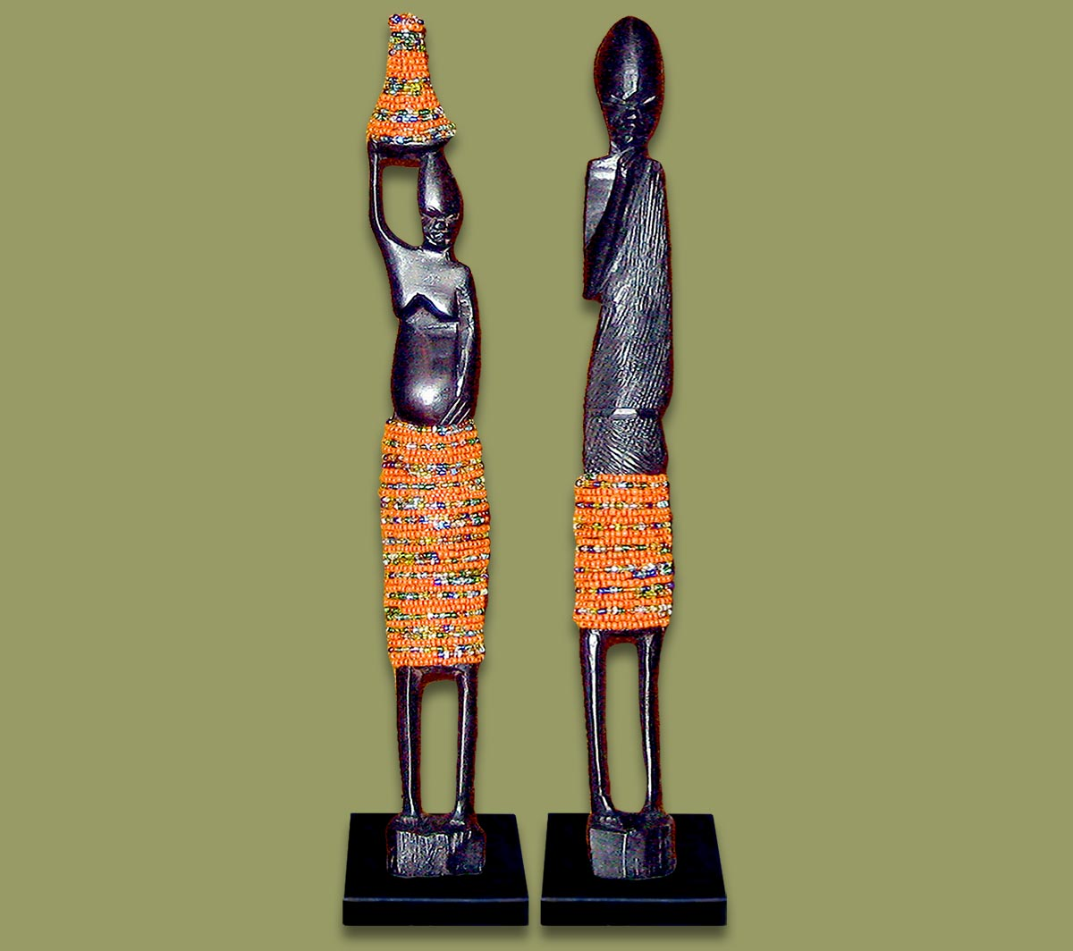 African Beaded Statues Orange Large