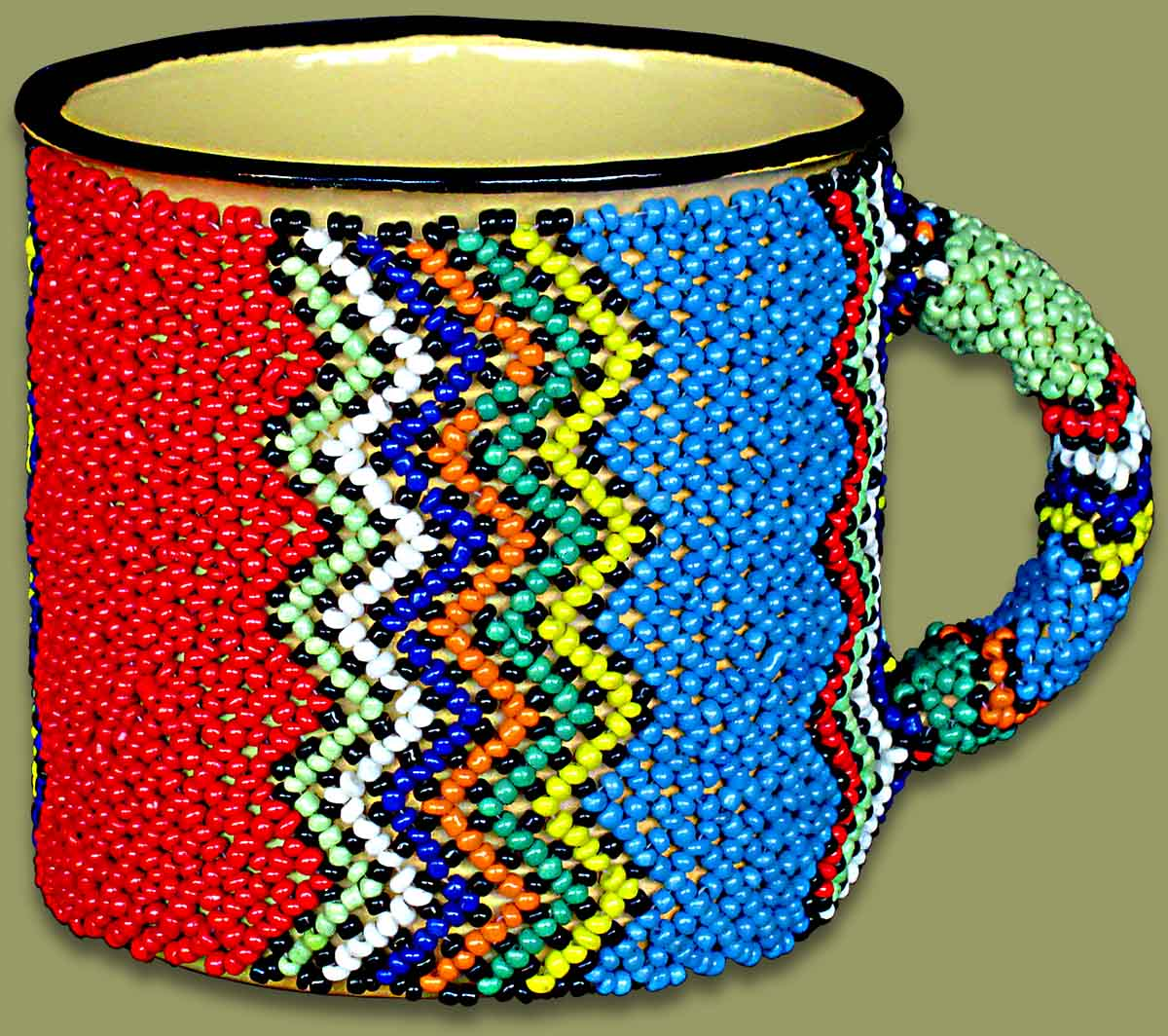 Beaded Tin Mug Large Zig Zag