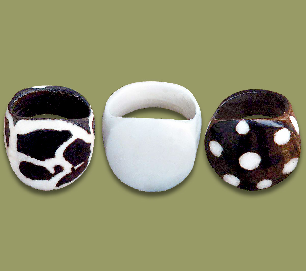 African Bone Rings Mixed