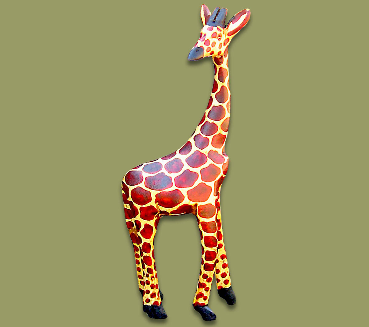 Wood Carved Giraffe Large