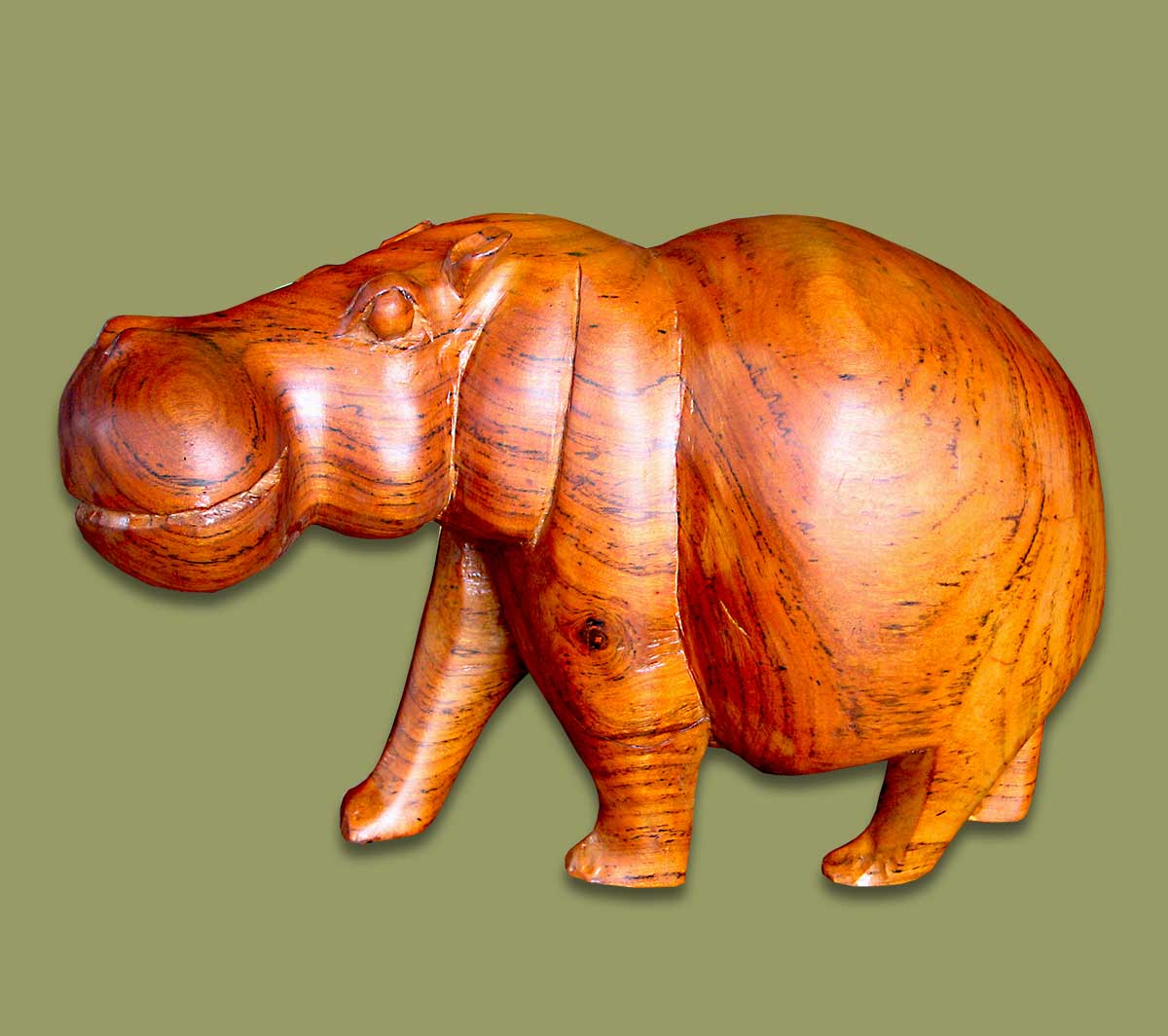 Wood Carved Hippo Small