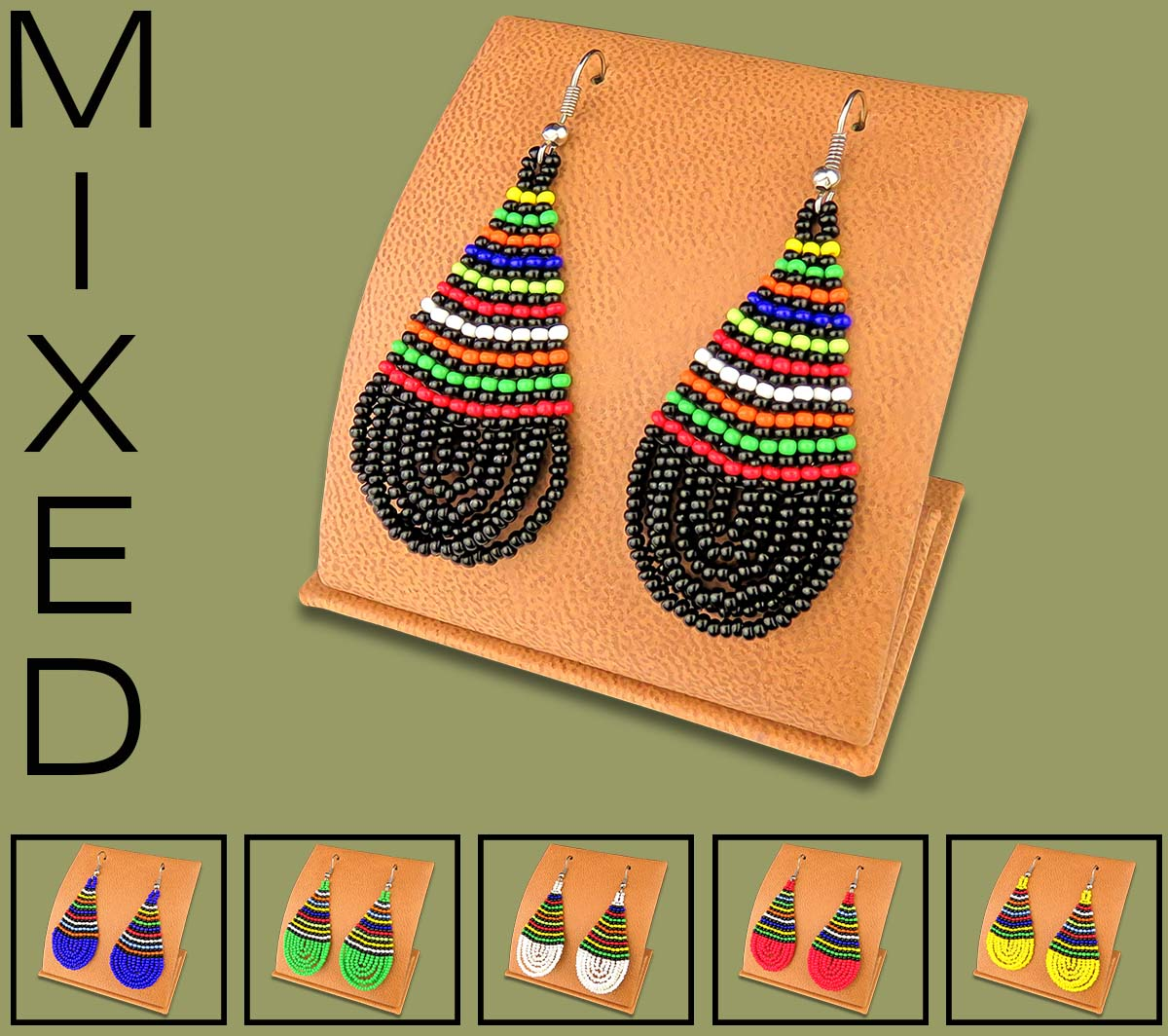Mixed African Colors Large Tear Drop Earrings