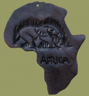 Key Ring Africa Map Wood