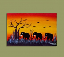 African Art Miniature Originals Elephant Family.1