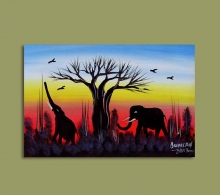 African Art Miniature Originals Elephants.1