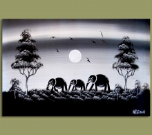 African Art Elephant Nights