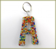 Beaded Key Ring Alphabet Letter A