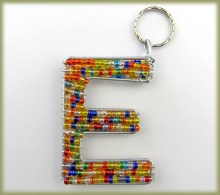 Beaded Key Ring Alphabet Letter E