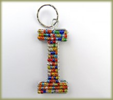 Beaded Key Ring Alphabet Letter I