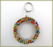 Beaded Key Ring Alphabet Letter O