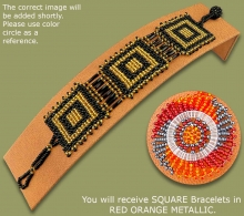 Beaded Bracelets Square Red Orange Metallic