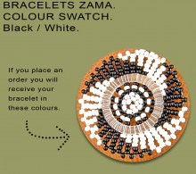 African Beaded Bracelets Zama Black White