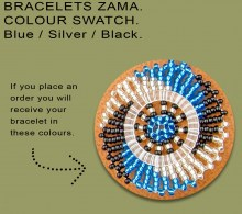 African Beaded Bracelets Zama Blue Silver Black