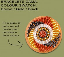 African Beaded Bracelets Zama Gold Black Brown