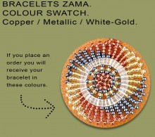 African Beaded Bracelets Zama Copper Metallic White-Gold
