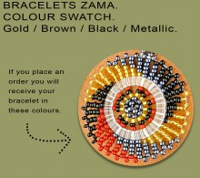 African Beaded Bracelets Zama Brown Black Gold Metallic