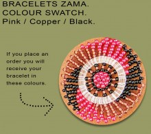 African Beaded Bracelets Zama Black Pink Copper