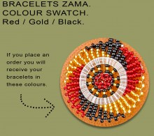 African Beaded Bracelets Zama Red Gold Black