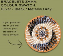 African Beaded Bracelets Zama Silver Black Metallic