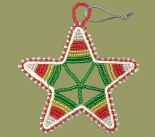 African Beaded Christmas Star.1 Red Silver Green Gold