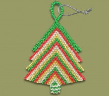 African Beaded Christmas Tree Gold Red Silver Green