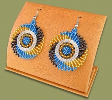 Small Circle Earrings Blue Black Gold