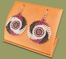 Small Circle Earrings Purple Silver Black