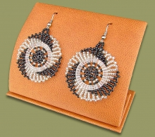 Small Circle Earrings Silver Black
