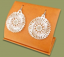 Small Circle Earrings Silver White