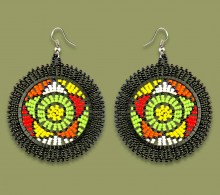 African Beaded Earrings Large Circle Black