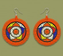 African Beaded Earrings Large Circle Orange