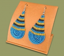 Large Beaded Ear Rings Tear Drop Blue Gold Black