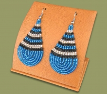 Large Beaded Ear Rings Tear Drop Blue Silver Black