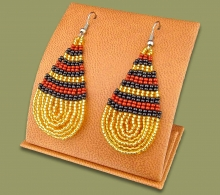 Large Beaded Ear Rings Tear Drop Gold Black Brown