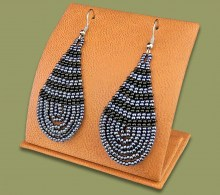 Large Beaded Ear Rings Tear Drop Metallic Black
