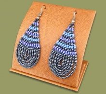 Large Beaded Ear Rings Tear Drop Lilac Blue Metallic