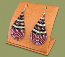 Large Beaded Ear Rings Tear Drop Purple Silver Black