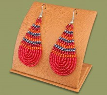 Large Beaded Ear Rings Tear Drop Red Orange Metallic