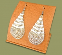 Large Beaded Ear Rings Tear Drop Silver White