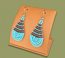 Small Beaded Ear Rings Tear Drop Aqua Copper Chocolate