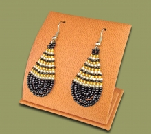 Small Beaded Ear Rings Tear Drop Black Silver Gold