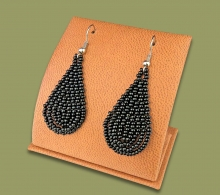 Small Beaded Ear Rings Tear Drop Black