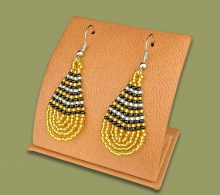 Small Beaded Ear Rings Tear Drop Gold Silver Black