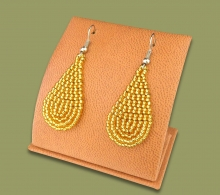 Small Beaded Ear Rings Tear Drop Gold