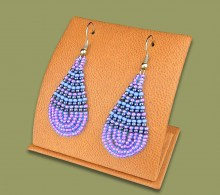 Small Beaded Ear Rings Tear Drop Lillac Blue Metallic