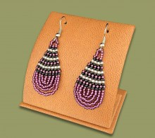 Small Beaded Ear Rings Tear Drop Purple Silver Black