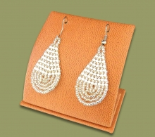 Small Beaded Ear Rings Tear Drop Silver White