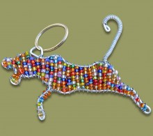 African Beaded Keyring Leopard