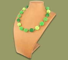 African Beaded Necklace Bobble Green Lime Emerald