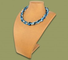 African Beaded Necklace Khanyo Blue Silver Black